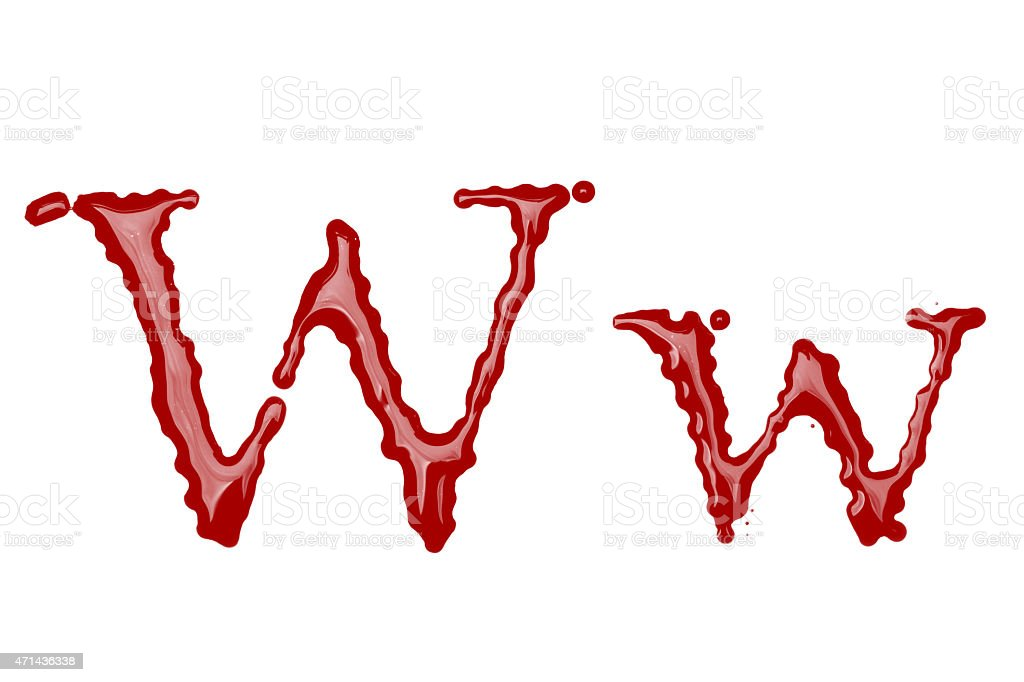 Capital and lowercase letter W made from blood stock photo