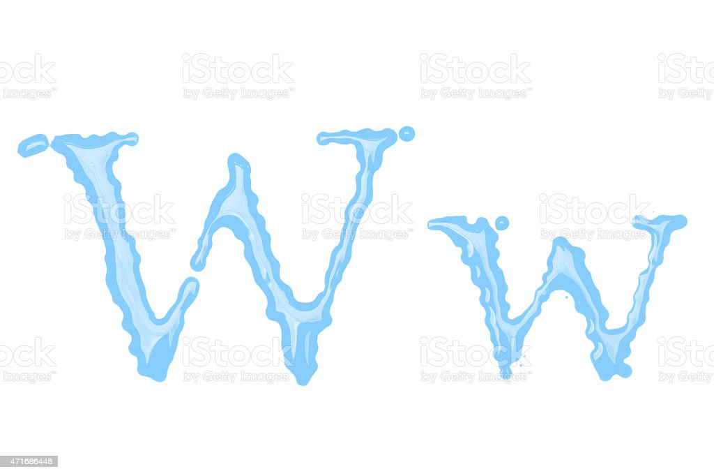 Capital and lowercase letter W made from water stock photo