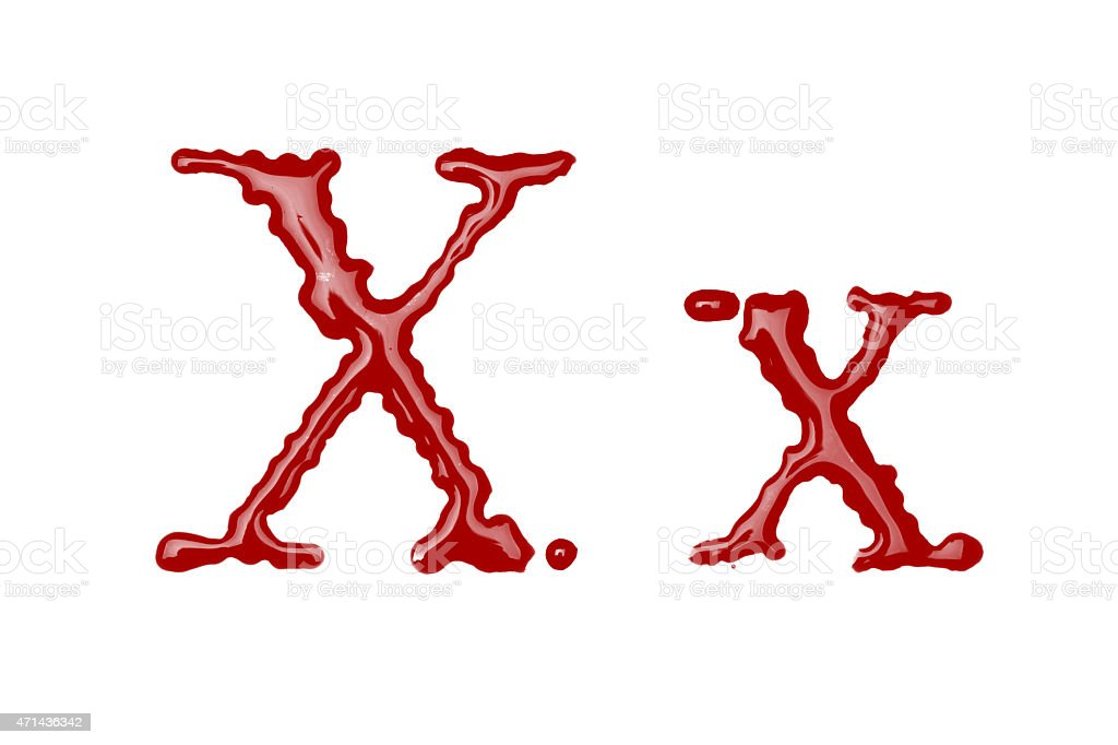 Capital and lowercase letter X made from blood stock photo