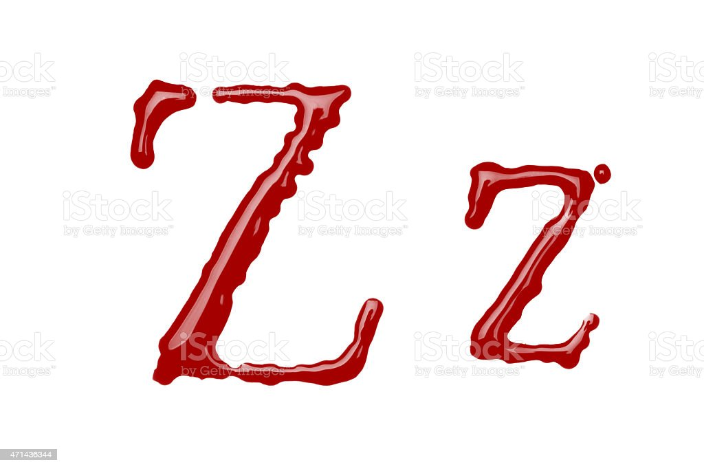 Capital and lowercase letter Z made from blood stock photo