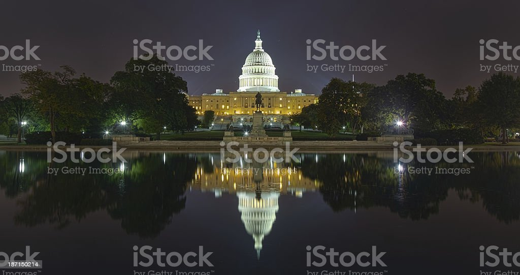US Capital Building at night royalty-free stock photo