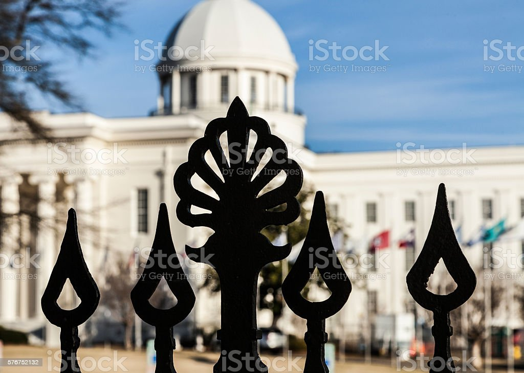 Capital building behind the fence stock photo