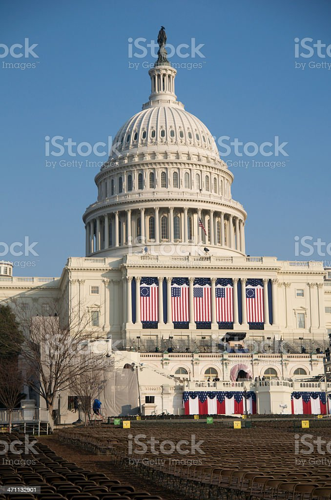 U.S. Capital building decorated for the 2009 Presidential Inauguration. royalty-free stock photo