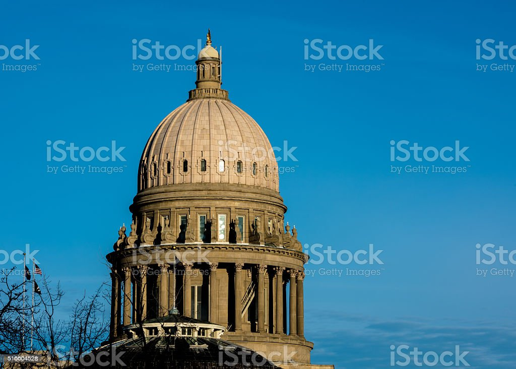 Capital building in Boise Idaho close up of dome stock photo