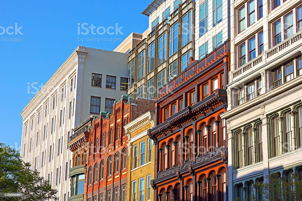 US capital business architecture under the evening sun. stock photo