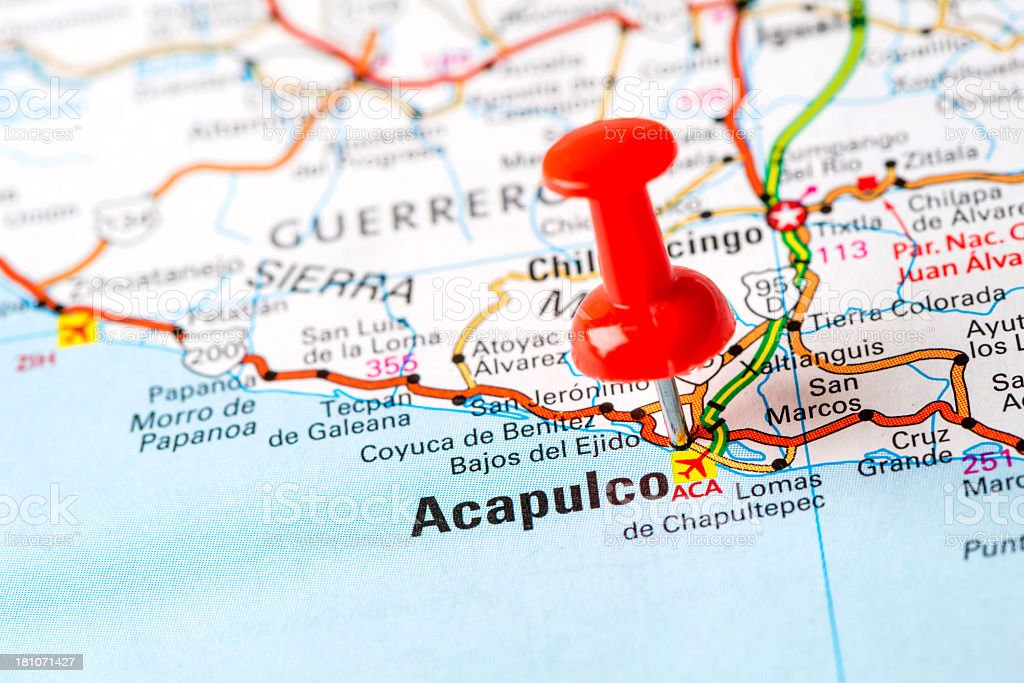 Us Capital Cities On Map Series Acapulco Mexico Stock Photo - Capital cities on map of us