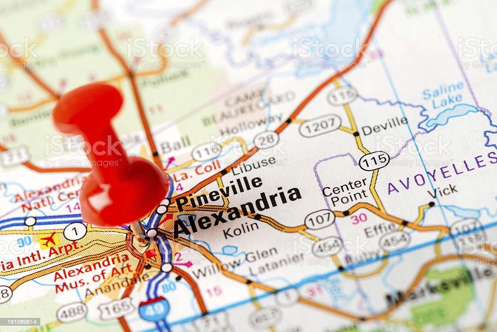 US capital cities on map series: Alexandria, LA stock photo