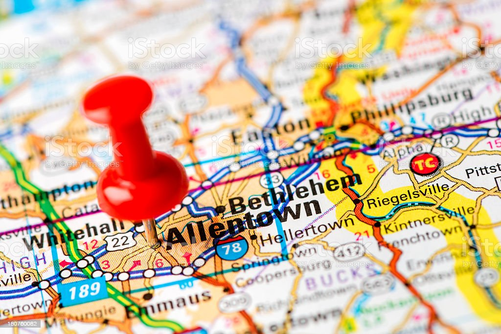 US capital cities on map series: Allentown, PA stock photo