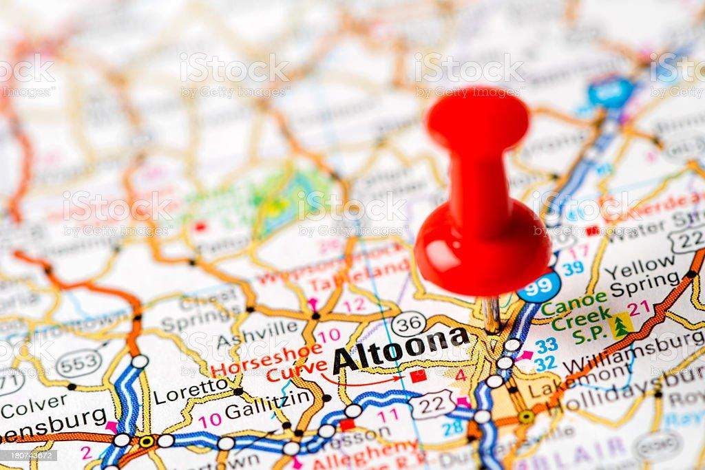 US capital cities on map series: Altoona, PA stock photo