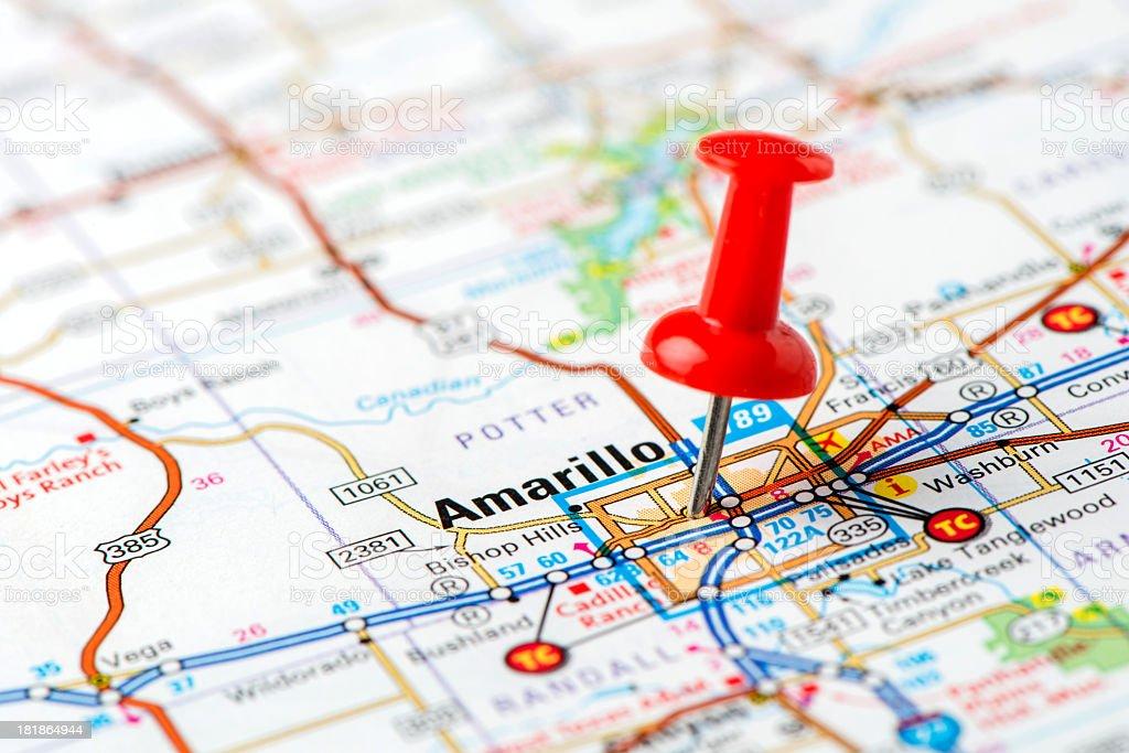 US capital cities on map series: Amarillo, Texas stock photo