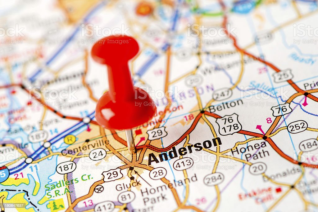 US capital cities on map series:   Anderson, SC royalty-free stock photo