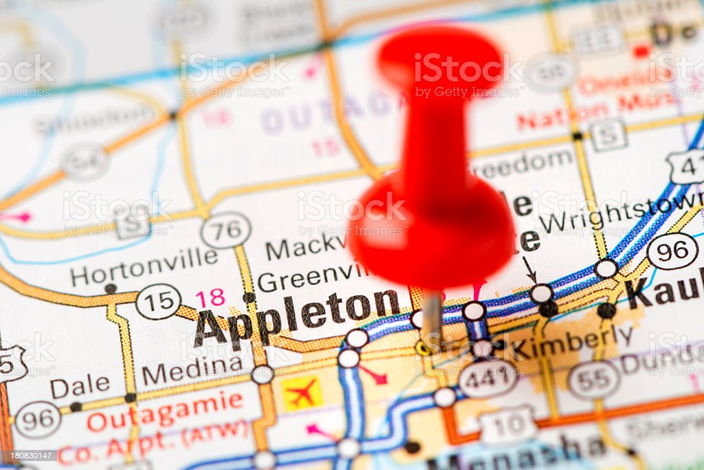 US capital cities on map series: Appleton, Wisconsin, WI stock photo