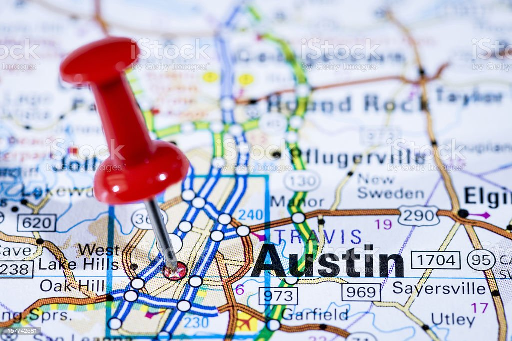 US capital cities on map series: Austin, Texas, TX stock photo