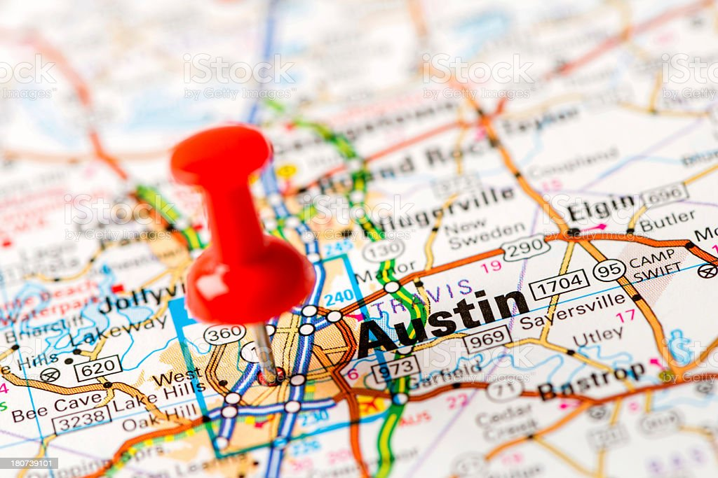 US capital cities on map series: Austin, TX stock photo