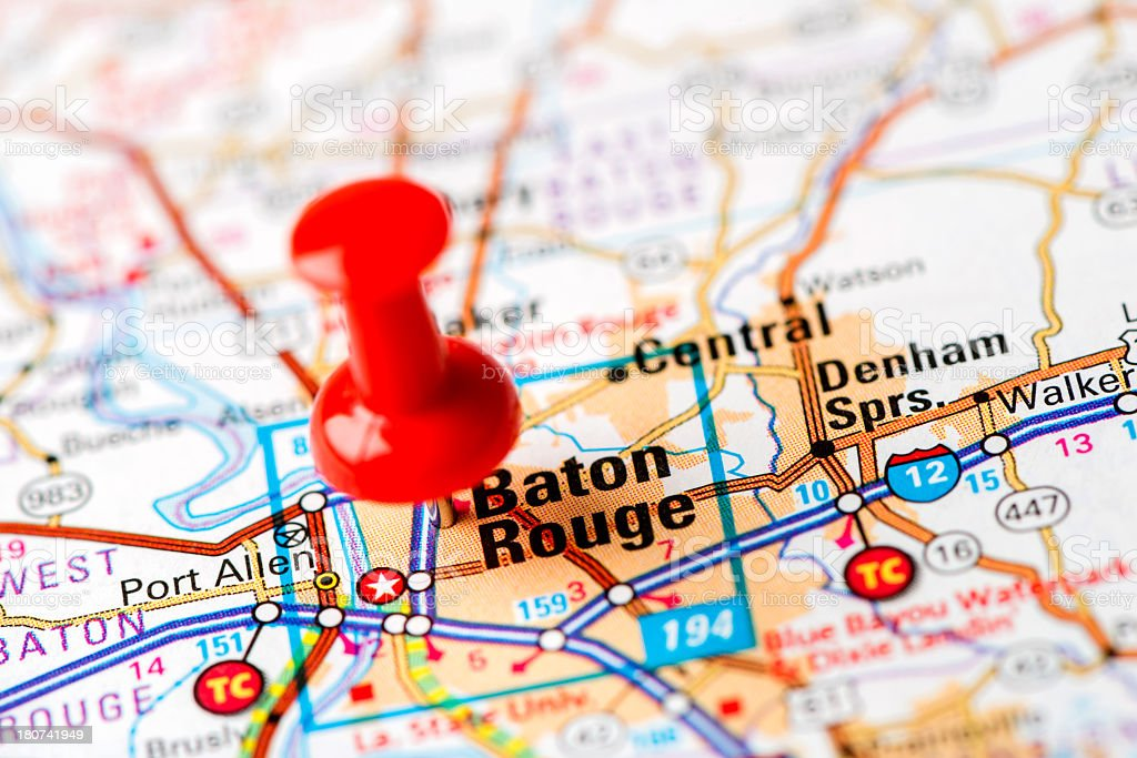 US capital cities on map series: Baton Rouge, Louisiana stock photo