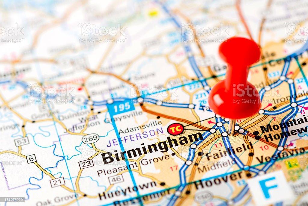 US capital cities on map series: Birmingham, AL stock photo