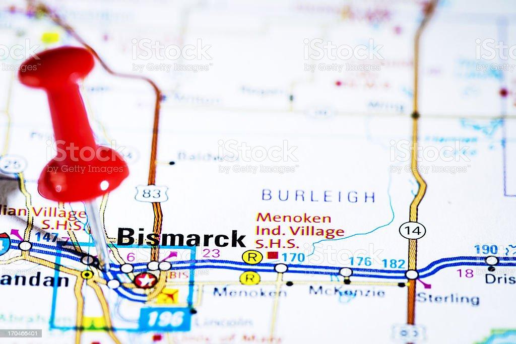 US capital cities on map series: Bismarck, North Dakota, ND stock photo