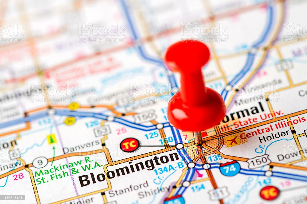 US capital cities on map series: Bloomington, IL stock photo