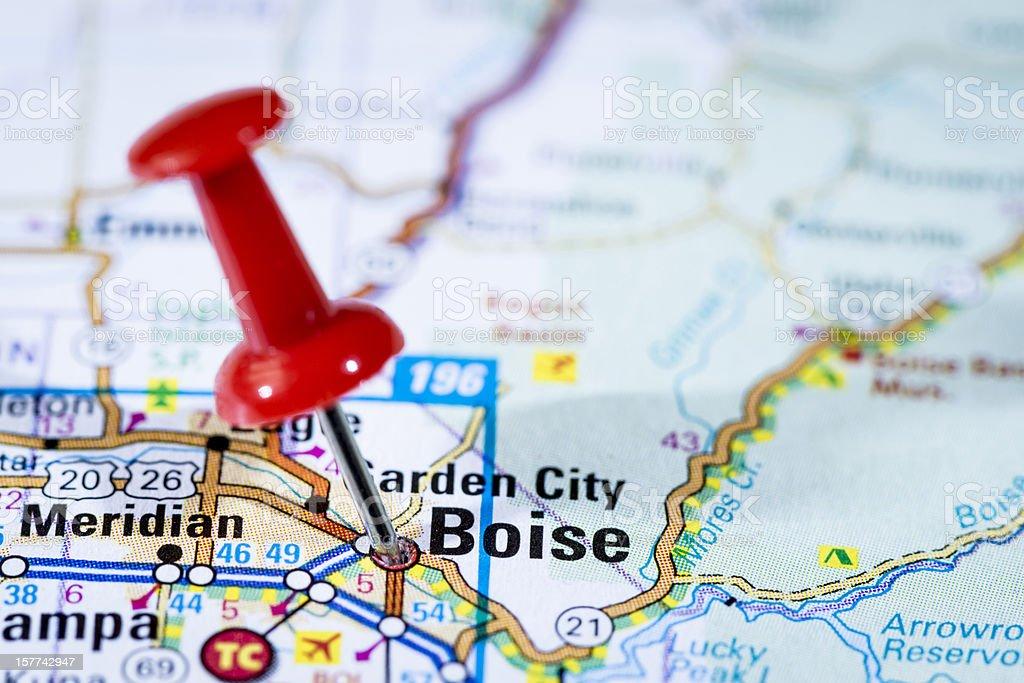 US capital cities on map series: Boise, Idaho, ID stock photo
