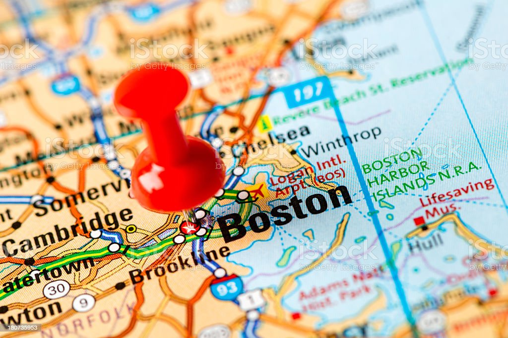 US capital cities on map series: Boston, MA royalty-free stock photo