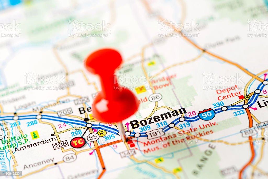 US capital cities on map series: Bozeman, MT stock photo