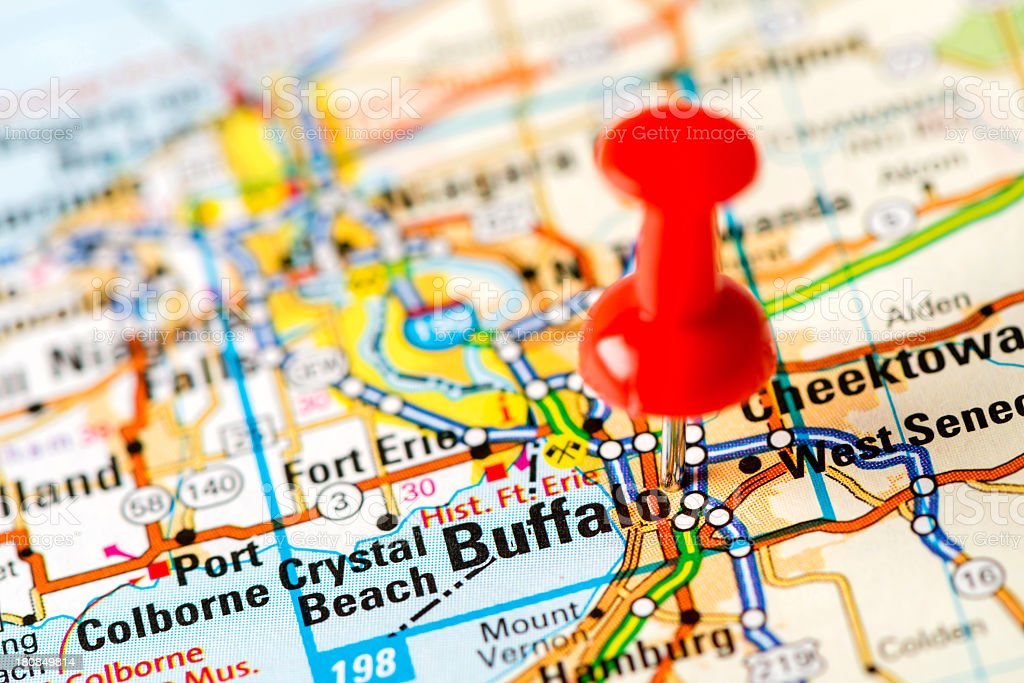 Us Capital Cities On Map Series Buffalo Ny Stock Photo - Map of us showing buffalo ny