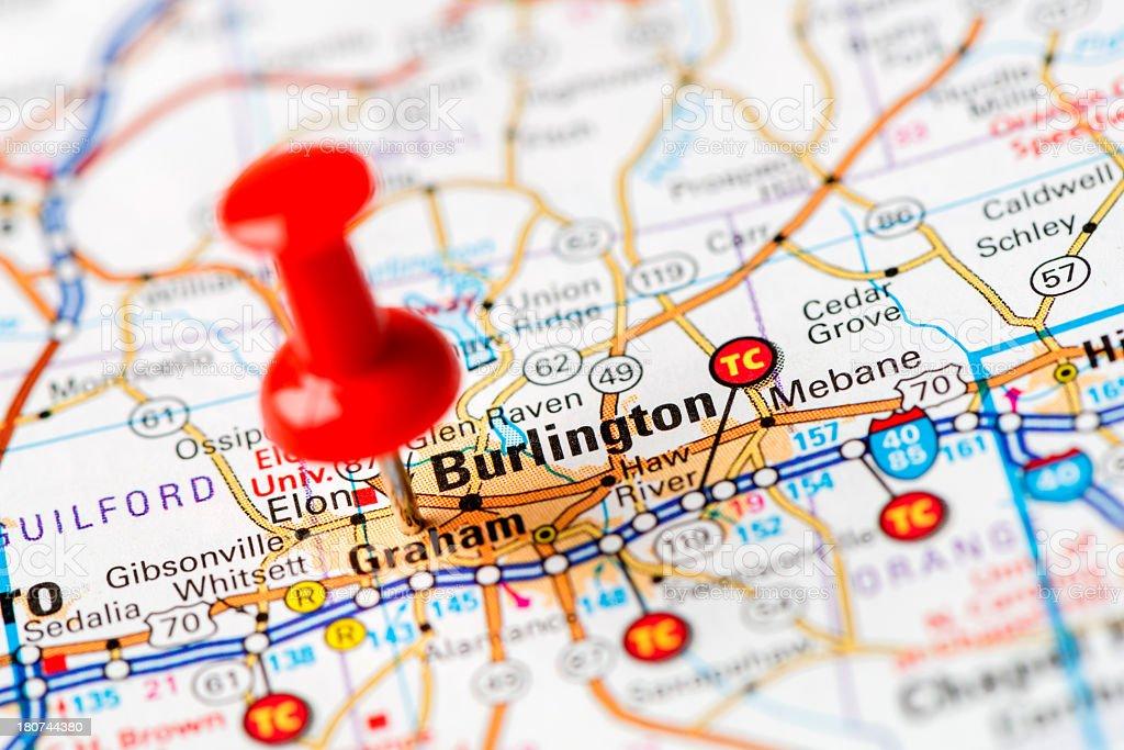 US capital cities on map series: Burlington,  NC stock photo