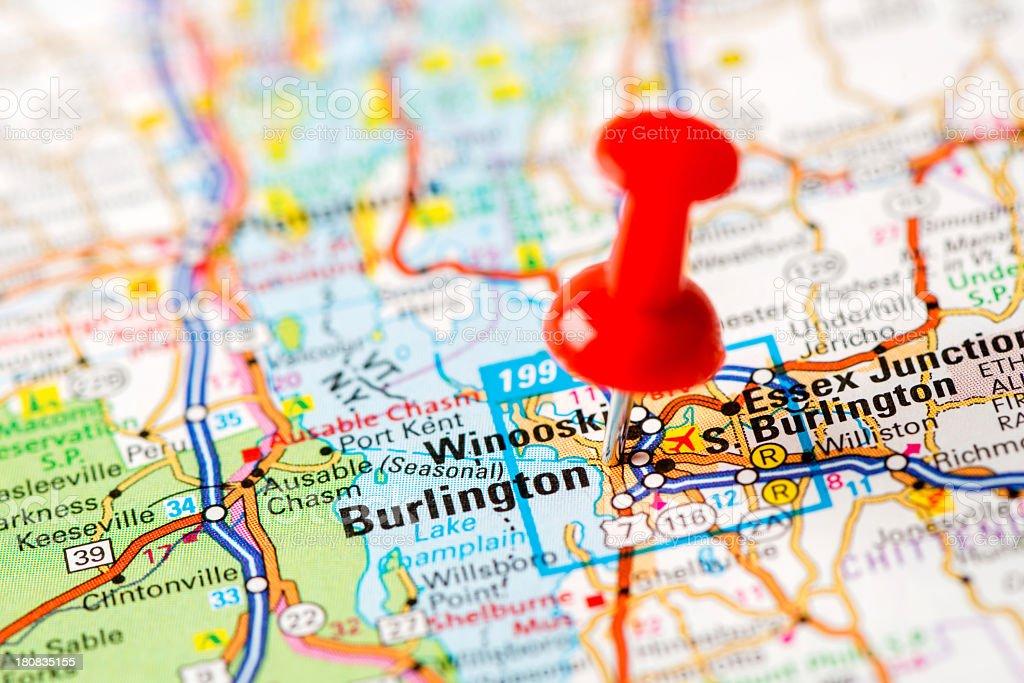 US capital cities on map series: Burlington, VT stock photo