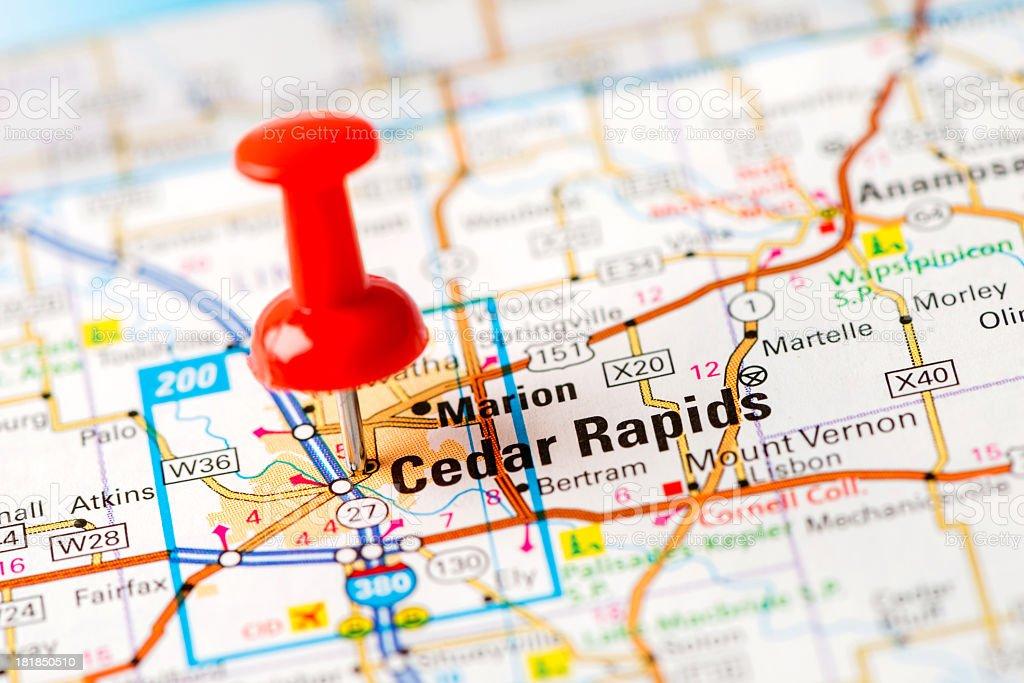 US capital cities on map series: Cedar Rapids, Iowa stock photo