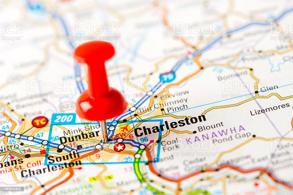 Us Capital Cities On Map Series Charleston Wv Stock Photo - Map of us cities with charleston