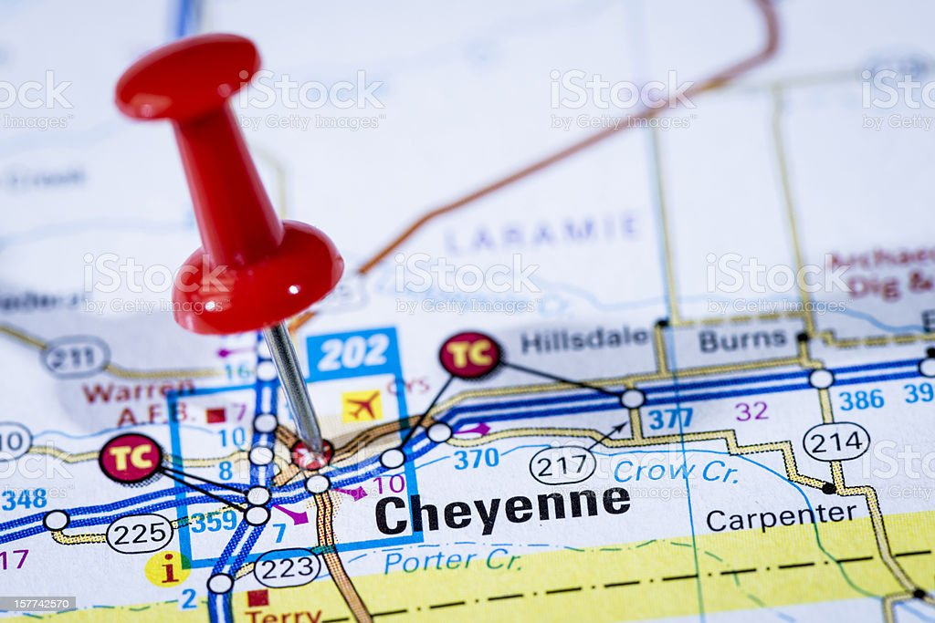 US capital cities on map series: Cheyenne, Wyoming, WY stock photo