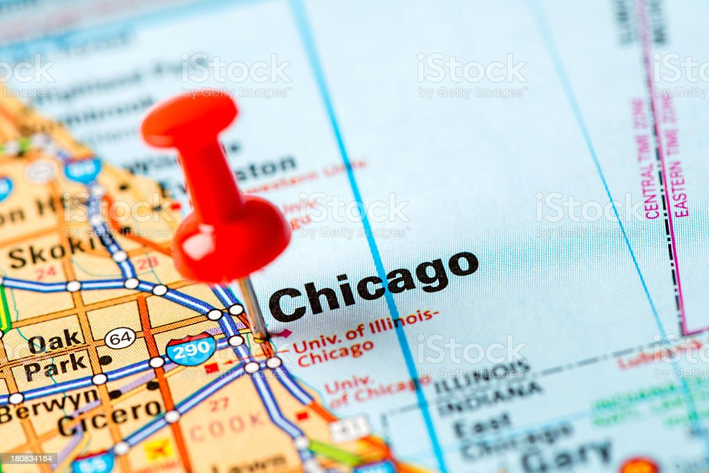 US capital cities on map series: Chicago, Illinois stock photo