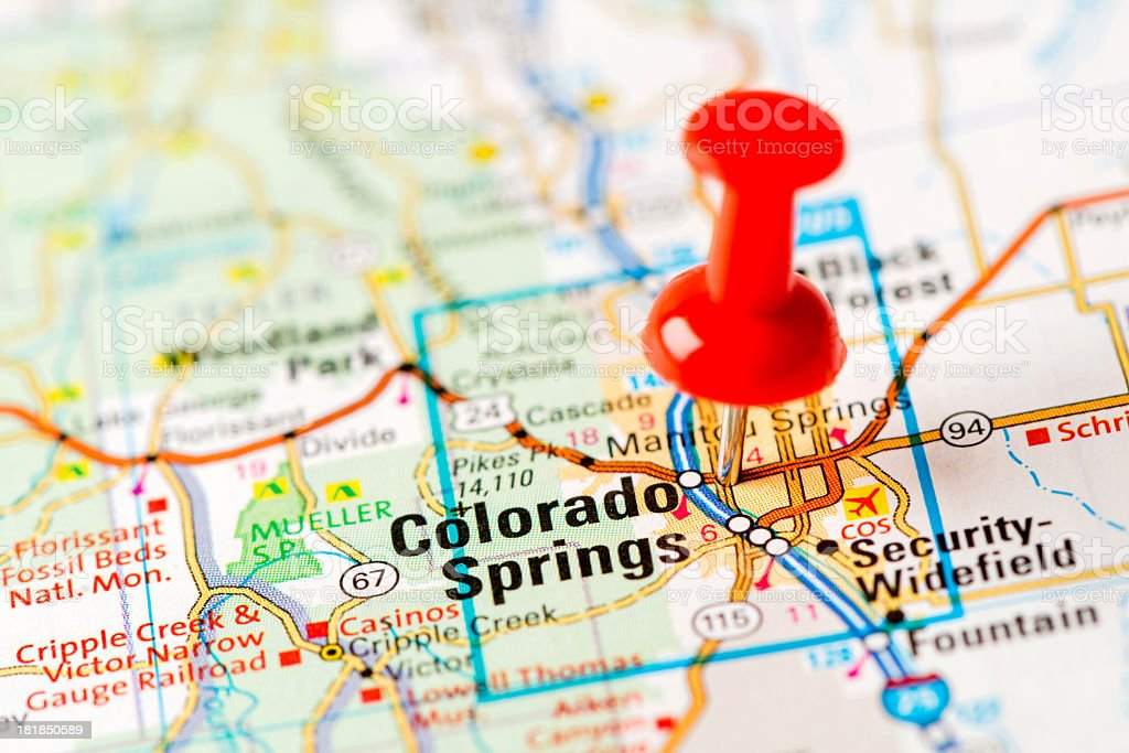 US capital cities on map series: Colorado Springs, CO stock photo