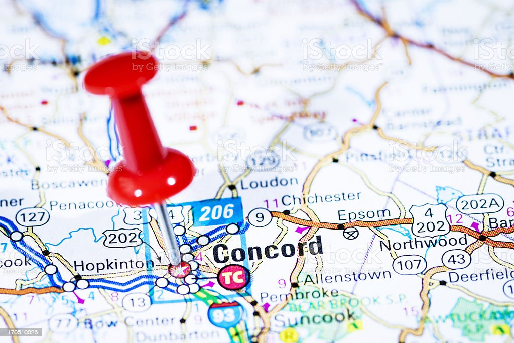 US capital cities on map series: Concord, New Hampshire, NH stock photo