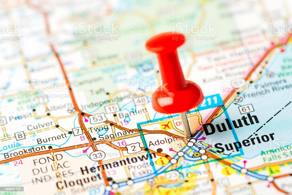 US capital cities on map series: Duluth, MN stock photo