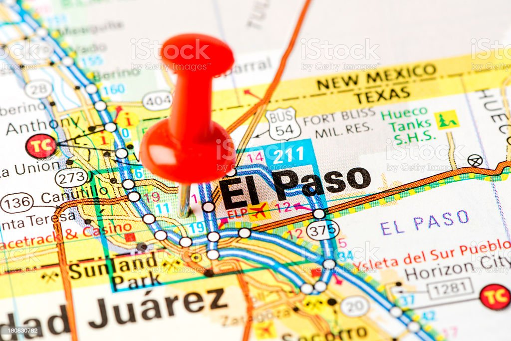 US capital cities on map series: El Paso, TX stock photo