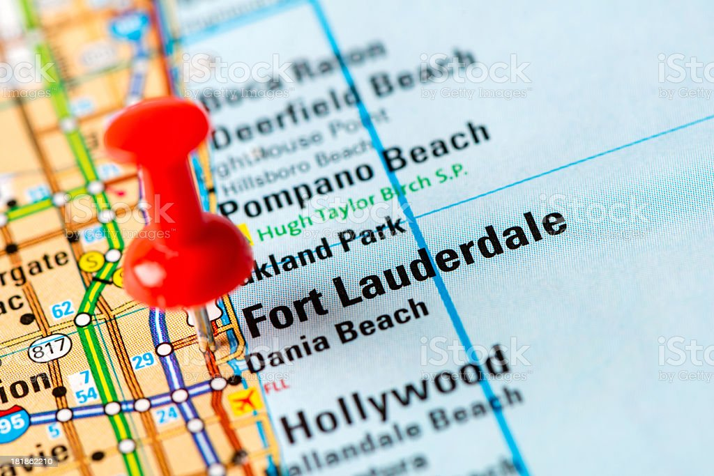 US capital cities on map series: Fort Lauderdale, FL royalty-free stock photo
