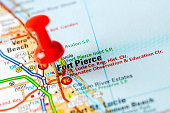 US capital cities on map series: Fort Pierce, FL