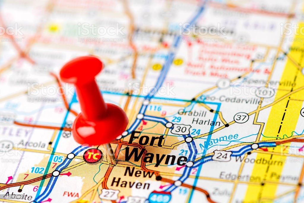 US capital cities on map series: Fort Wayne, IN stock photo