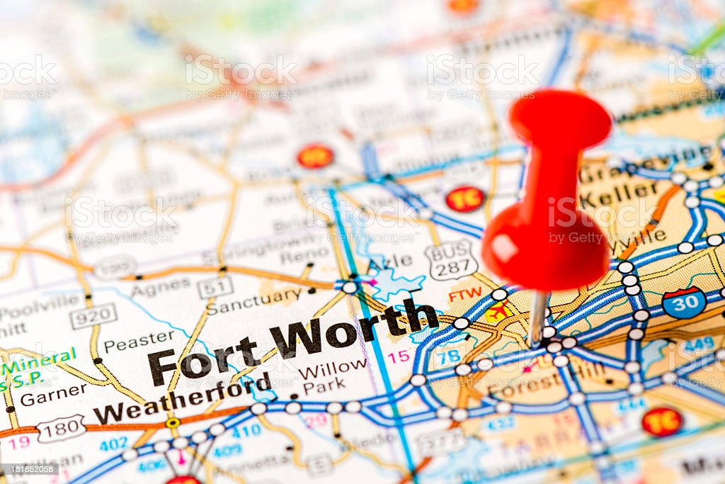US capital cities on map series: Fort Worth, TX stock photo