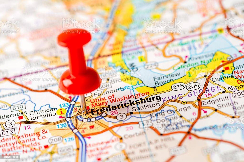 US capital cities on map series: Fredericksburg, VA stock photo