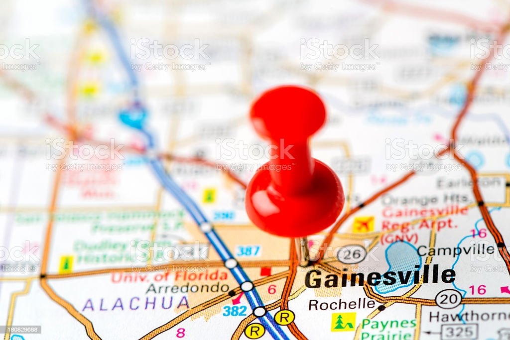 US capital cities on map series: Gainesville, Florida stock photo