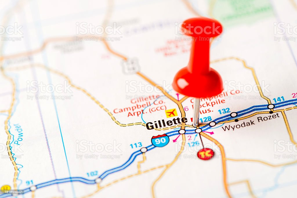 US capital cities on map series: Gillette, WY stock photo