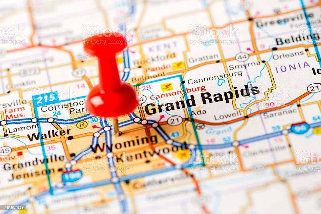 US capital cities on map series: Grand Rapids, MI stock photo