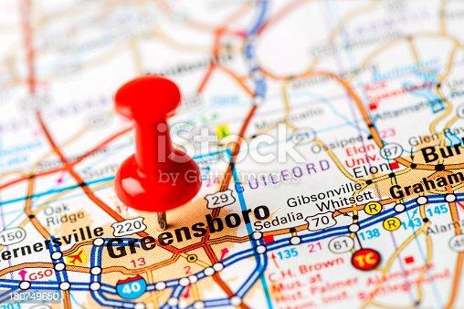 Us Capital Cities On Map Series Greensboro Nc Stock Photo - Greensboro nc on us map