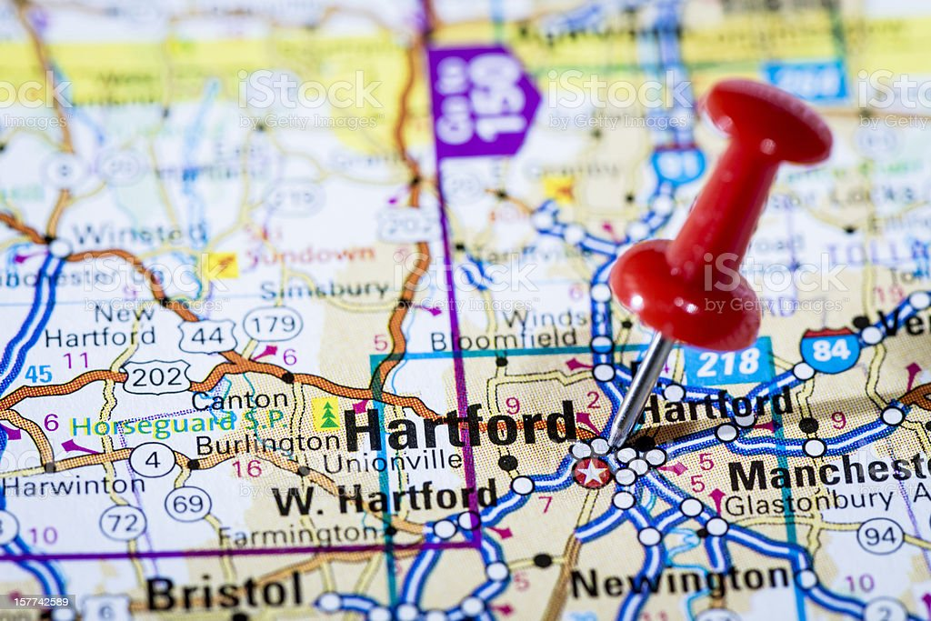 US capital cities on map series: Hartford, Connecticut, CT stock photo