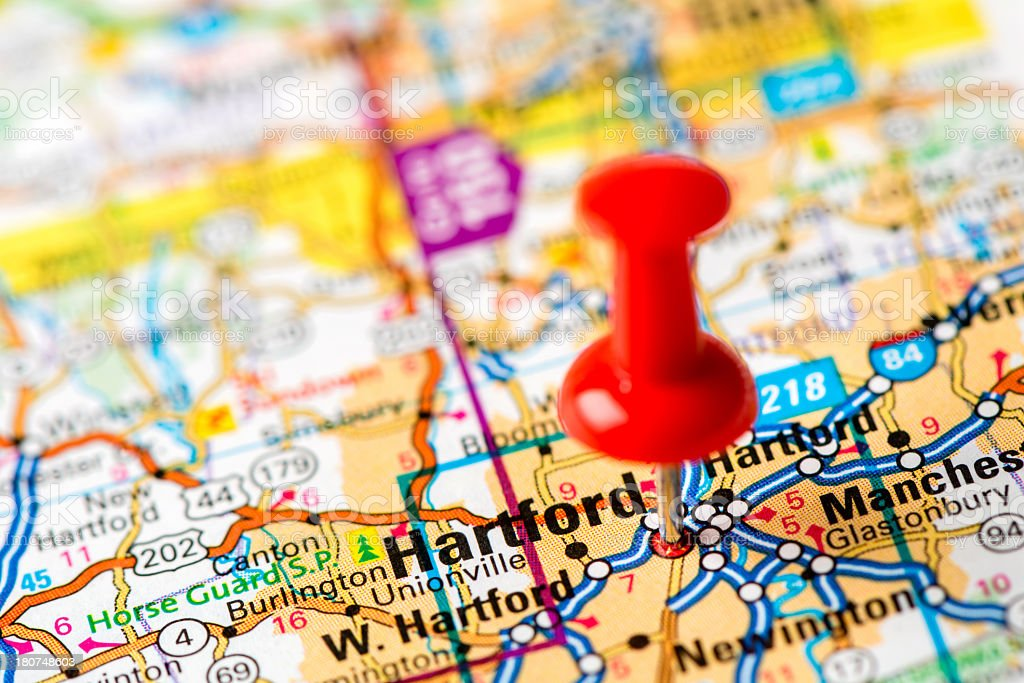 US capital cities on map series: Hartford, Connecticut royalty-free stock photo