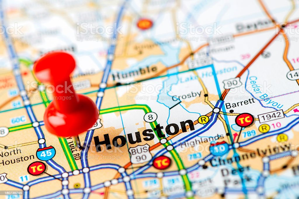 US capital cities on map series: Houston, Texas stock photo