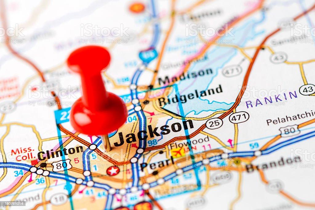 US capital cities on map series: Jackson, MS stock photo