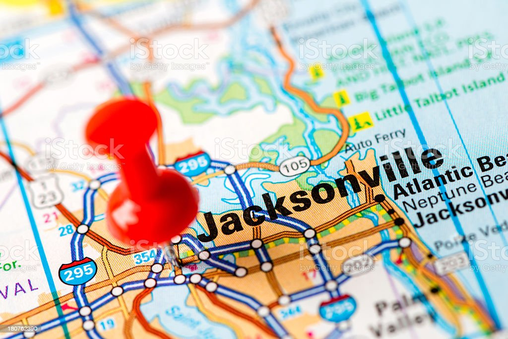 US capital cities on map series: Jacksonville, FL royalty-free stock photo